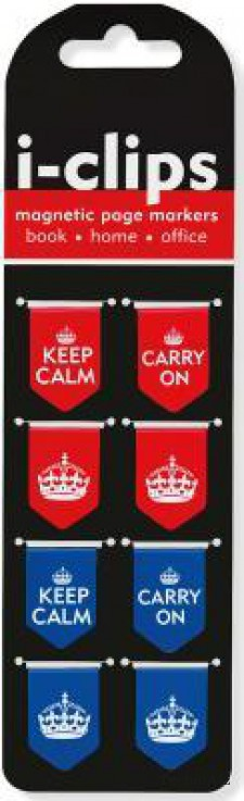 Keep Calm & Carry on I- Clips Magnetic Page Markers (Set of 8 Magnetic Bookmarks)(Hardcover)
